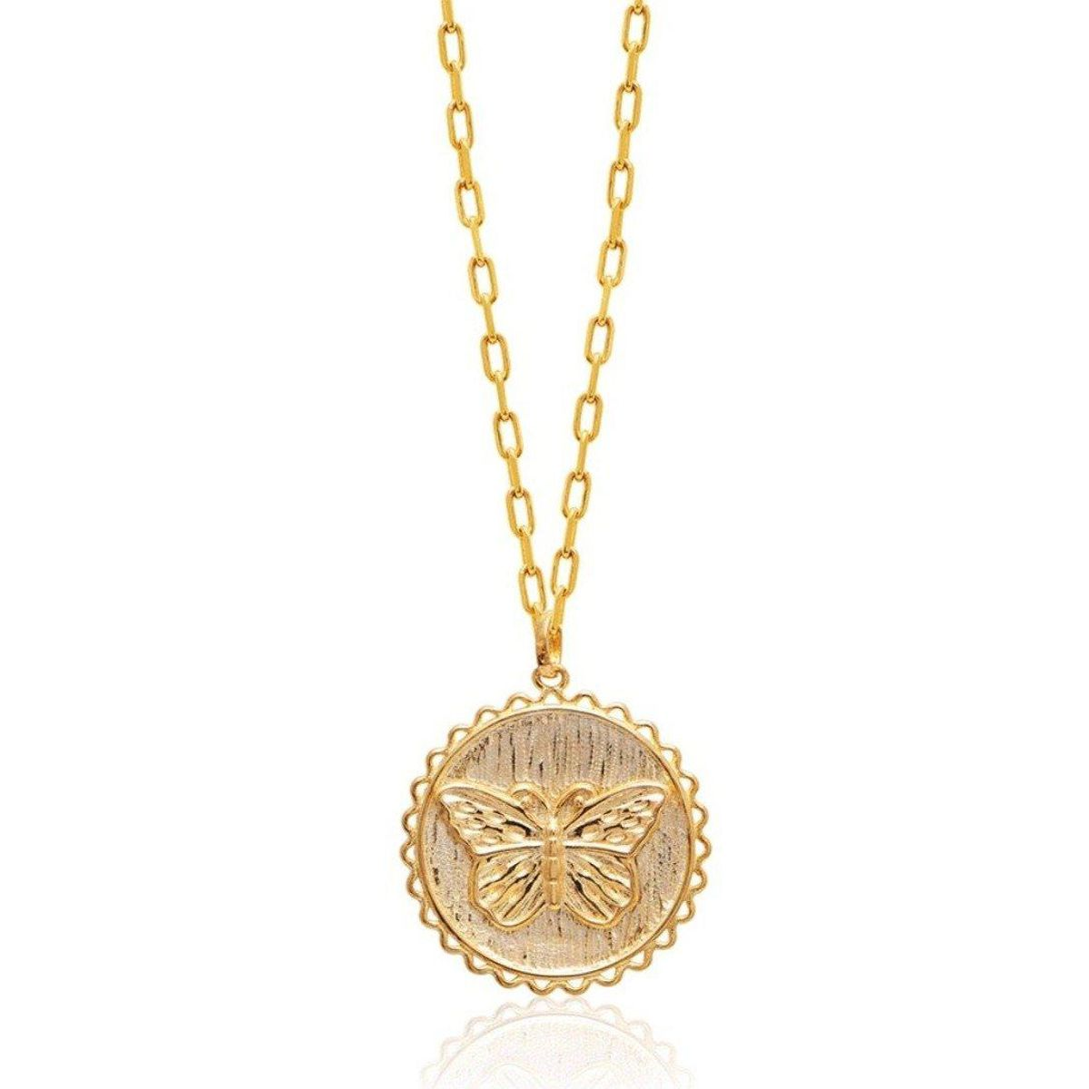 alex mika butterfly coin necklace