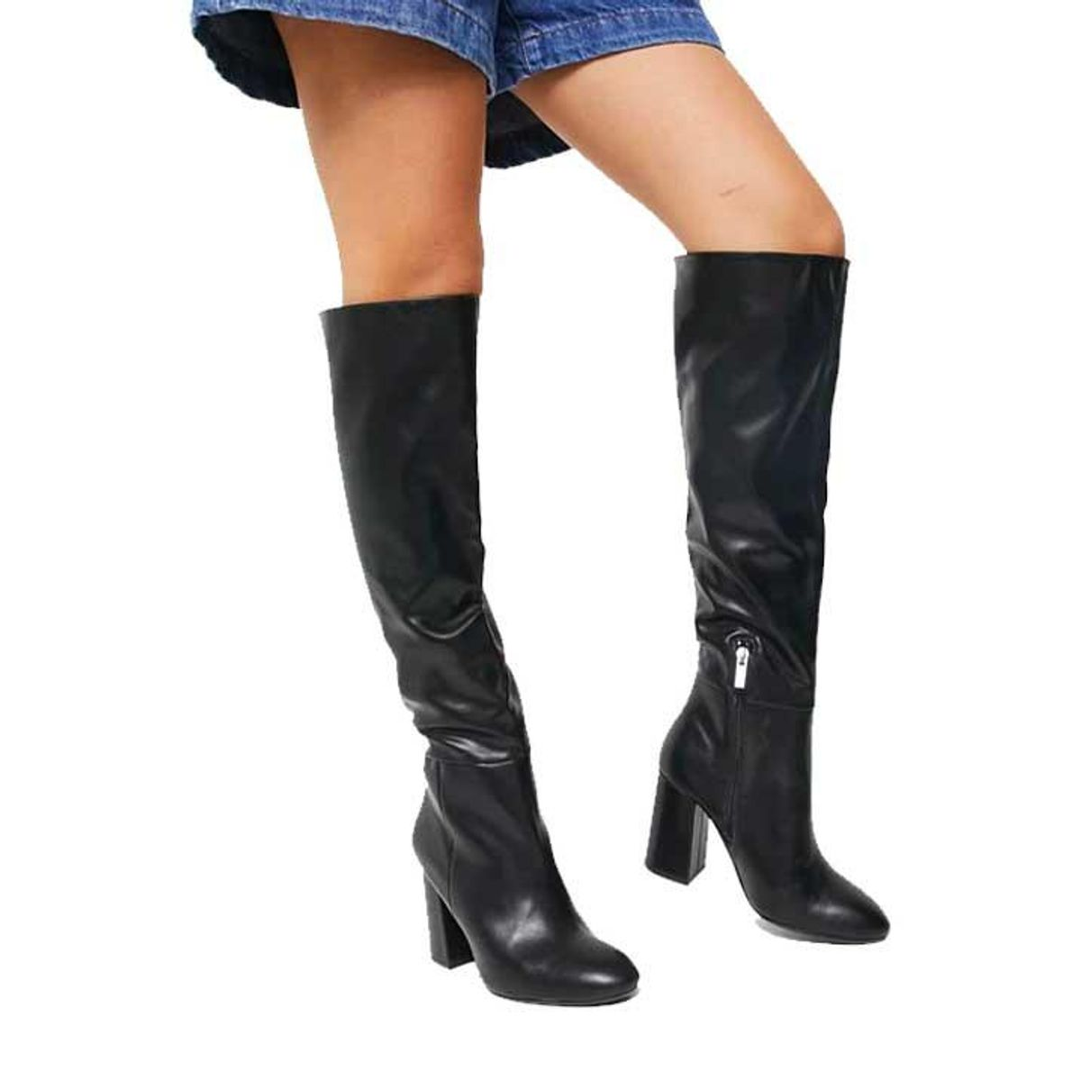 pull and bear high leg faux leather boots