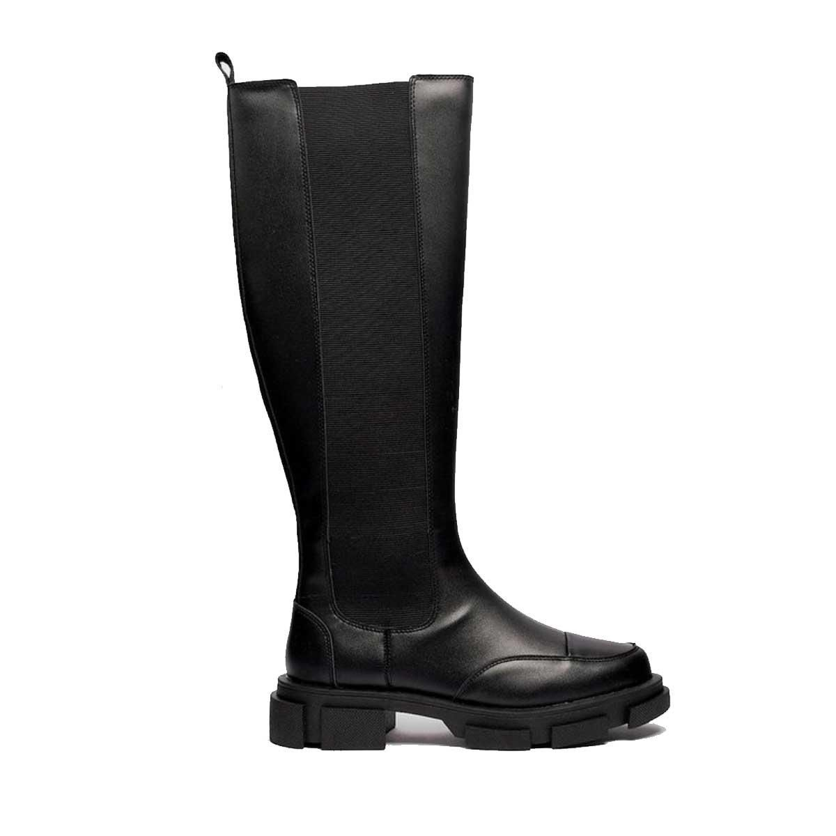 nasty gal faux leather wellie knee high boots