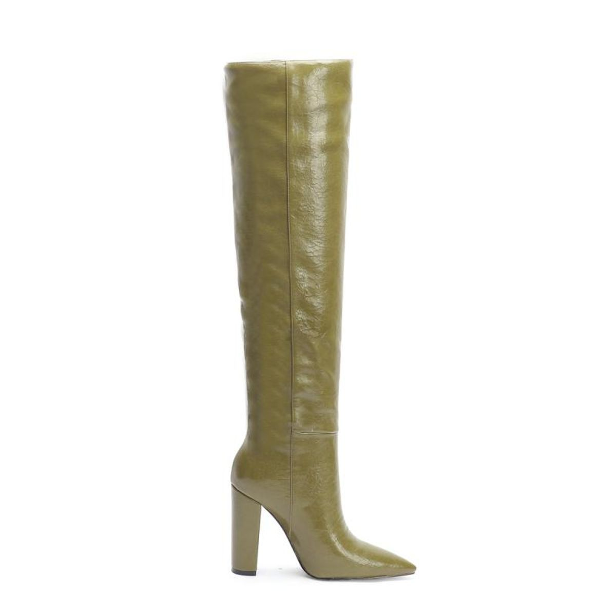 up 2 step trendy leather pointed toe block heel knee high boots