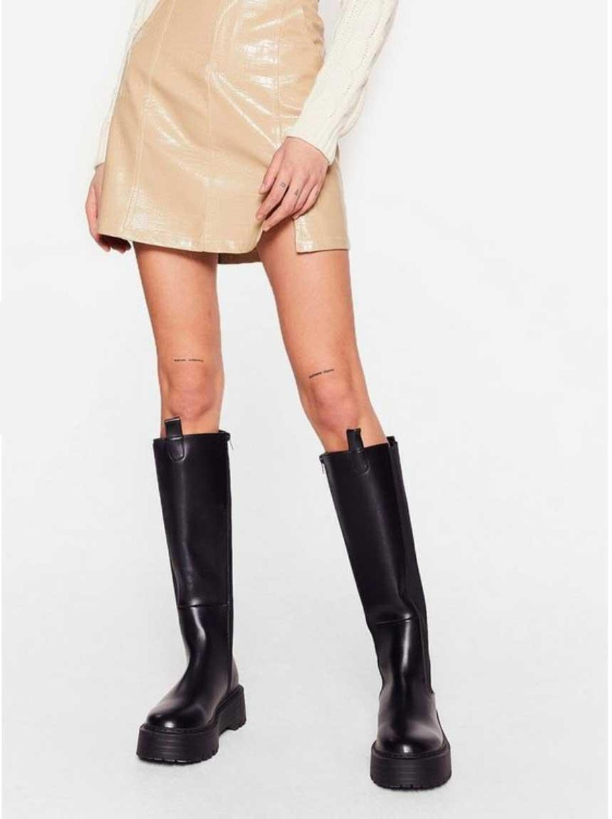 nasty gal faux leather calf high platform wellie boots