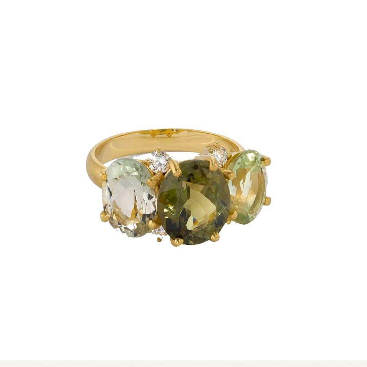 irene neuwirth one of a kind three stone gemmy gem ring