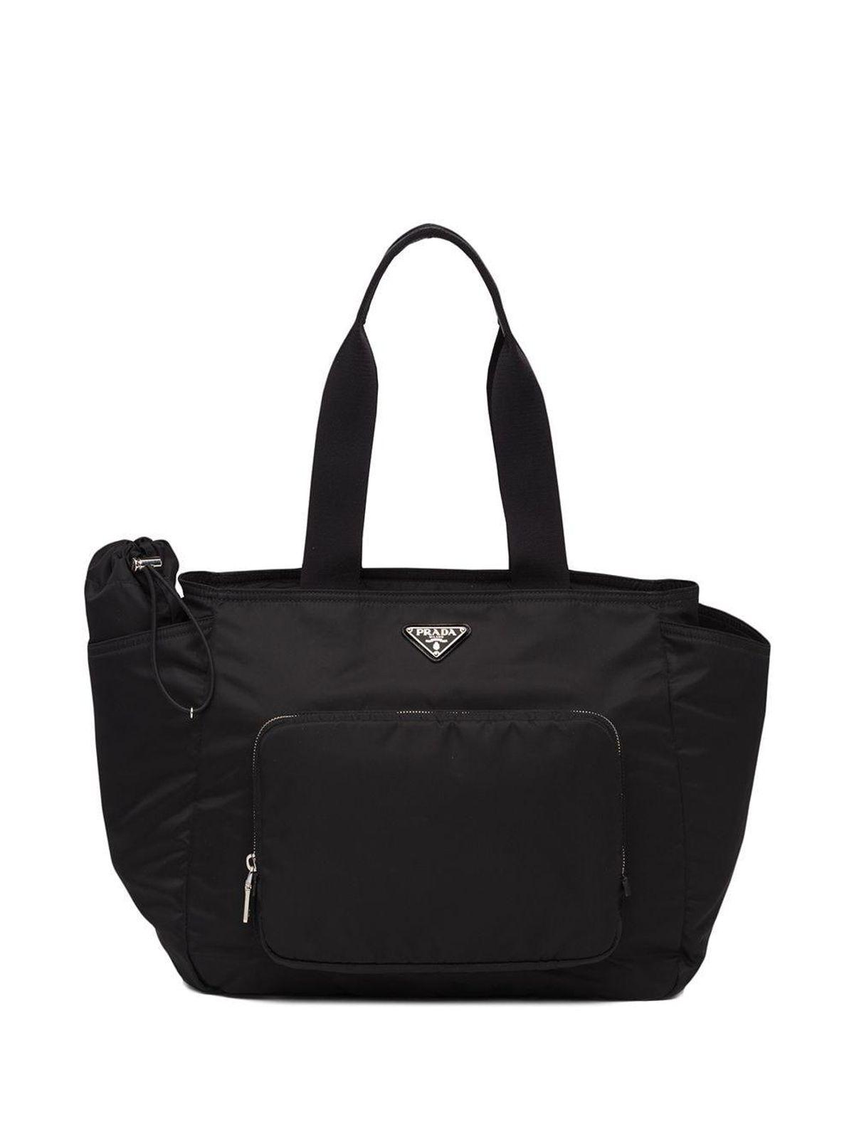 Nylon Logo Plaque Tote Bag
