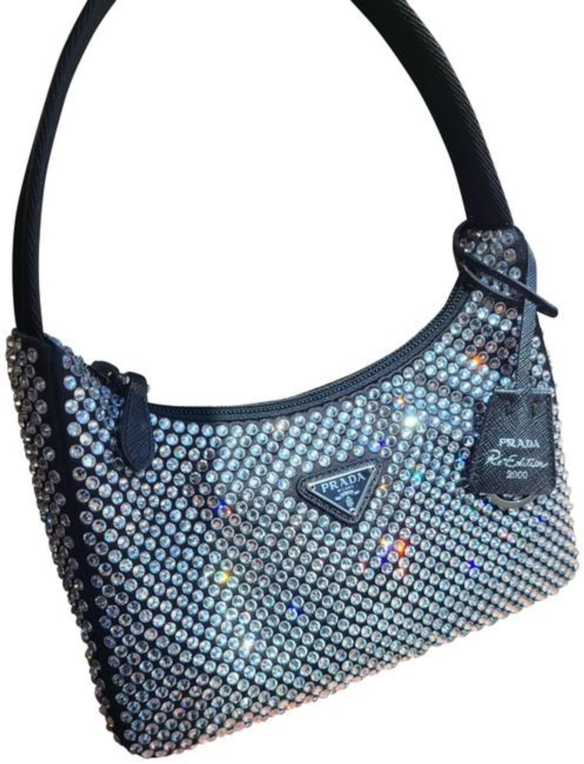 Crystal Re-Edition 2000 Black Satin Shoulder Bag
