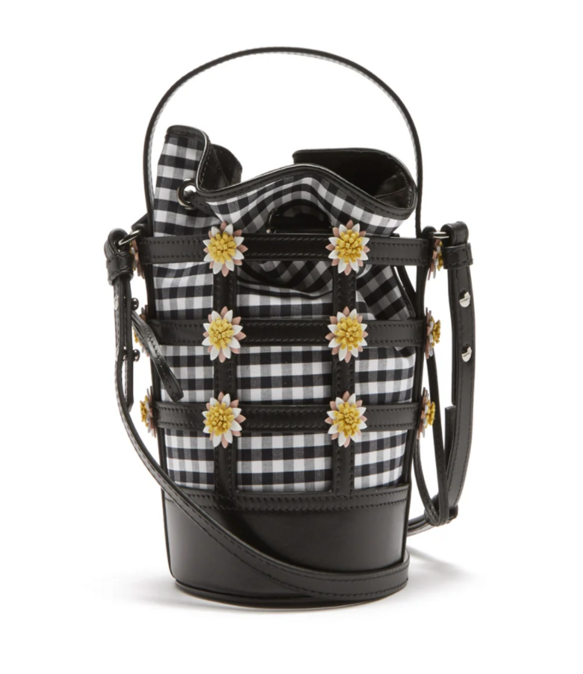 Miss Daisy Leather and Gingham Bucket Bag