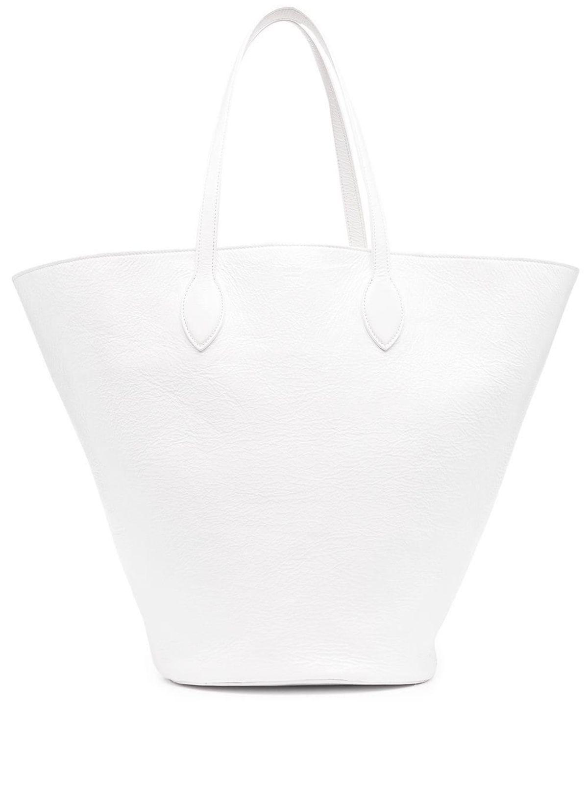 Medium Osa Tote in White Patent Leather