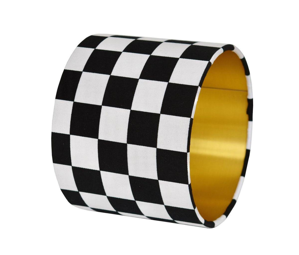 Black and White Checkered Drum Lamp Shade