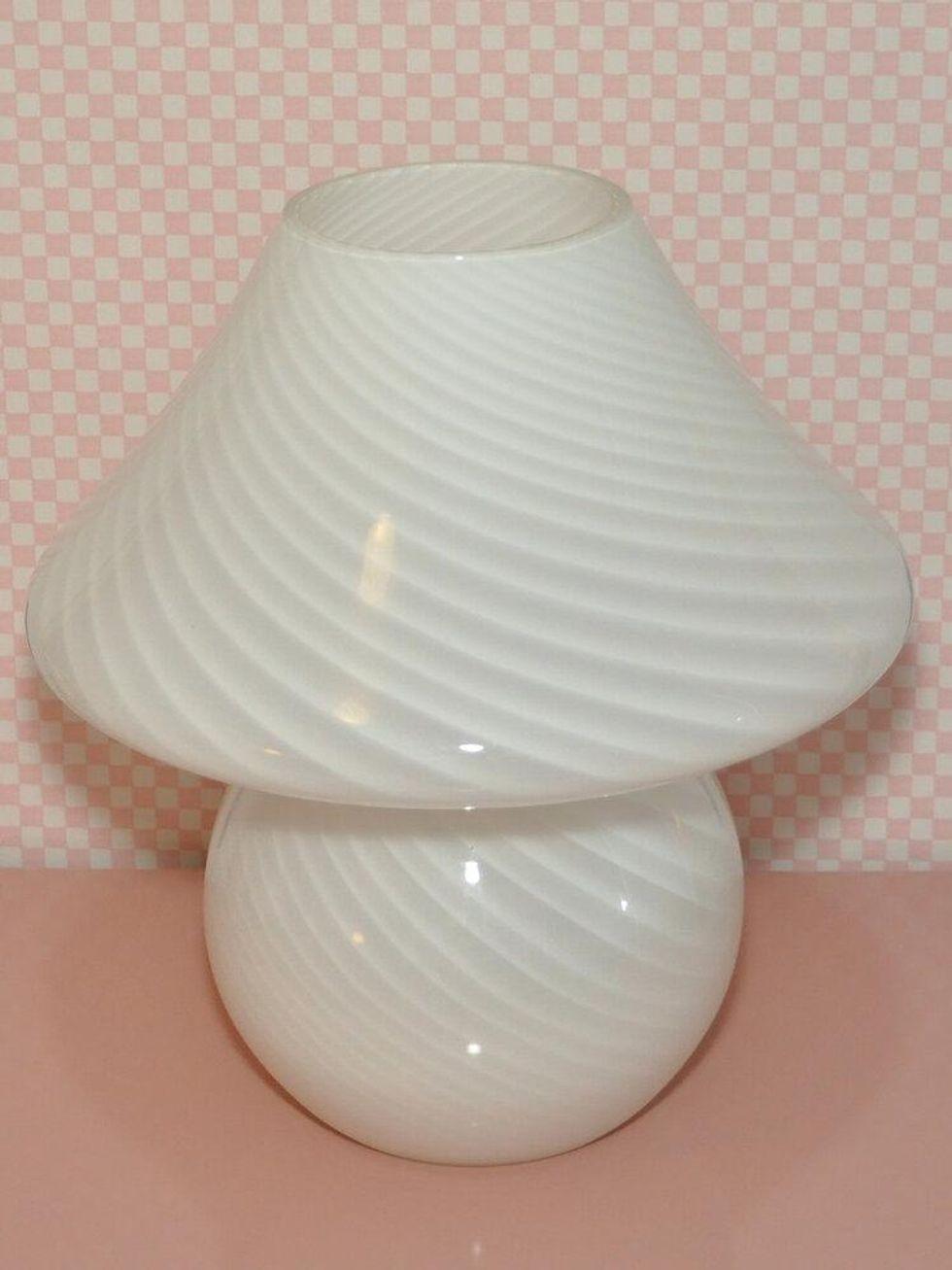 """14"""" White Murano Mushroom Lamp"""