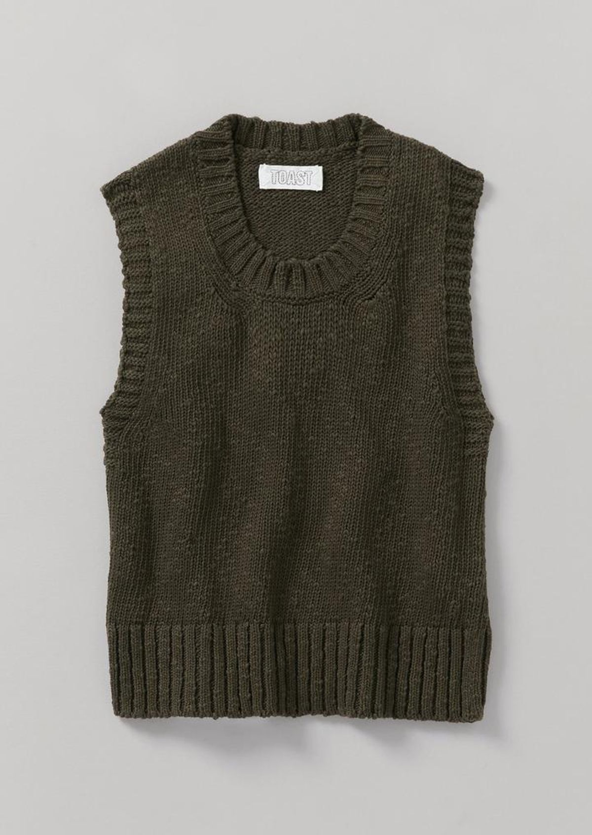 Cotton Linen Knitted Tank Dark Olive