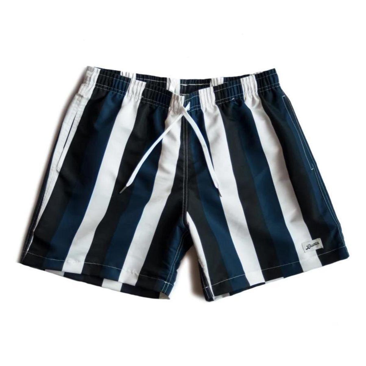 Blue and Black Striped Swim Trunk