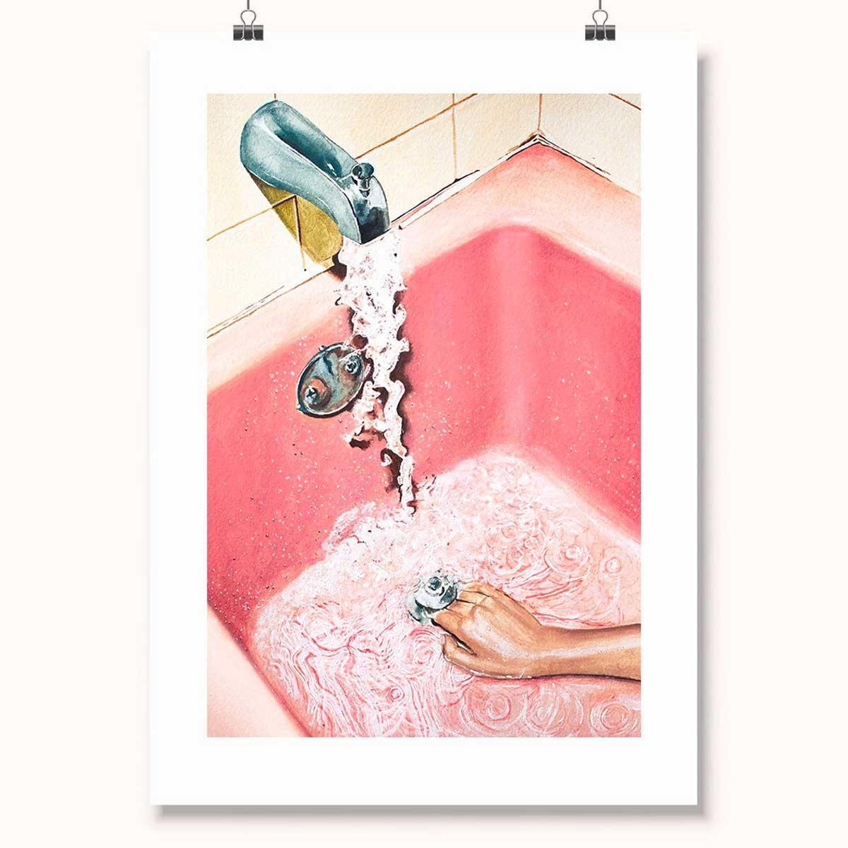 Vintage Pink Bathroom Art Print, Bathroom Art Print