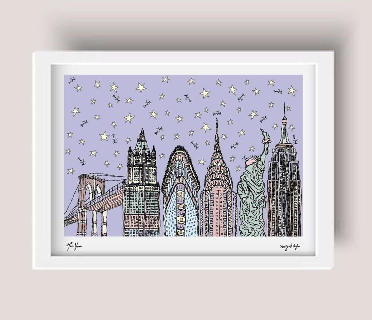 nyc curated new york print starry pastel new york city print