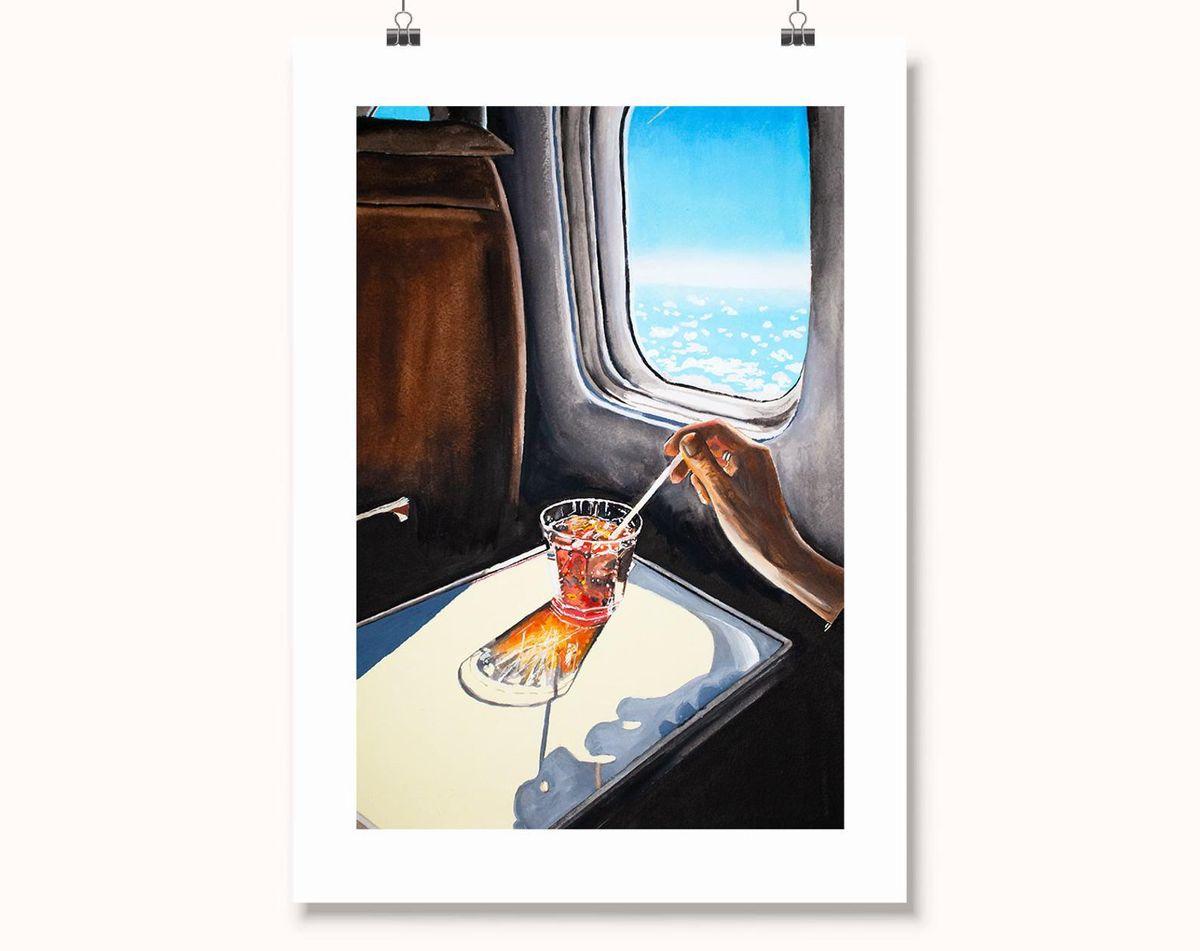 julia ockert glass in airplane art print
