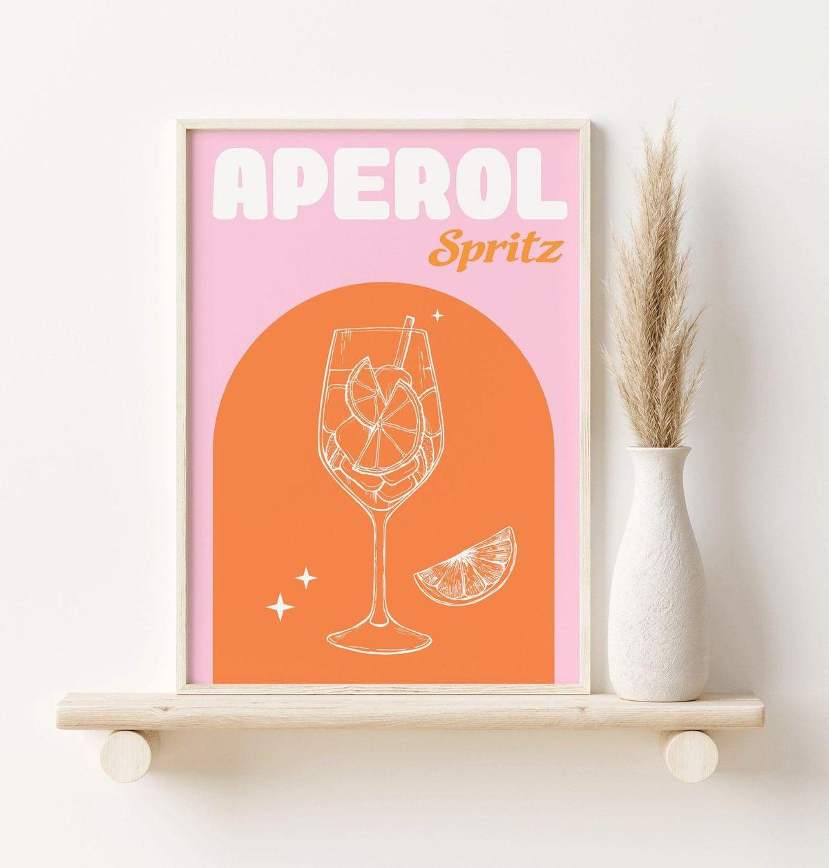 sofe store pink aperol spritz print