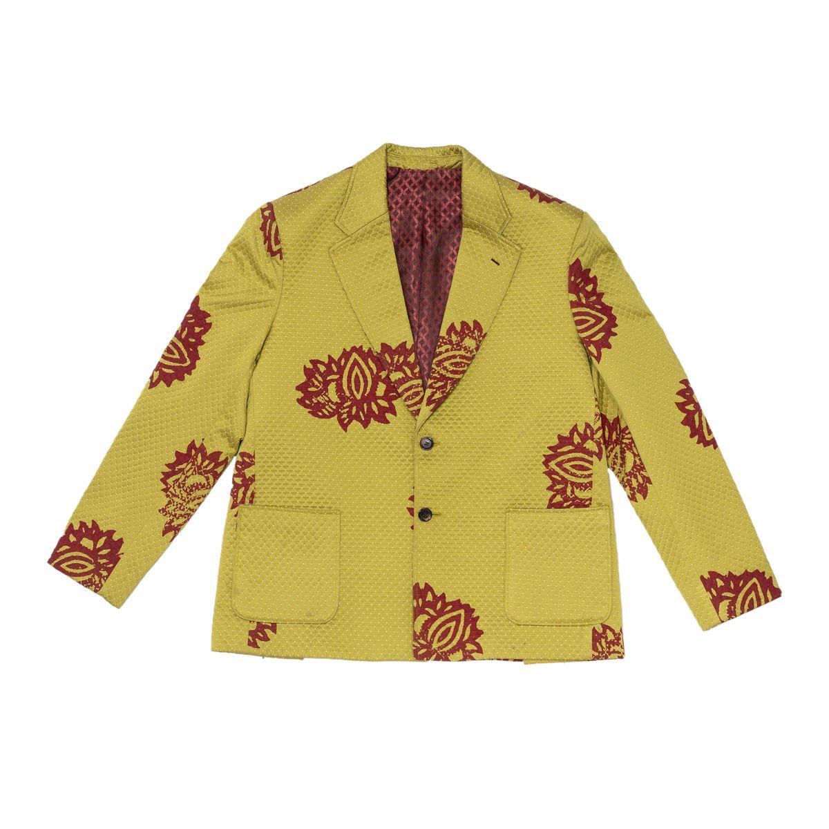 Lime Green Printed Oversized Silk Blazer