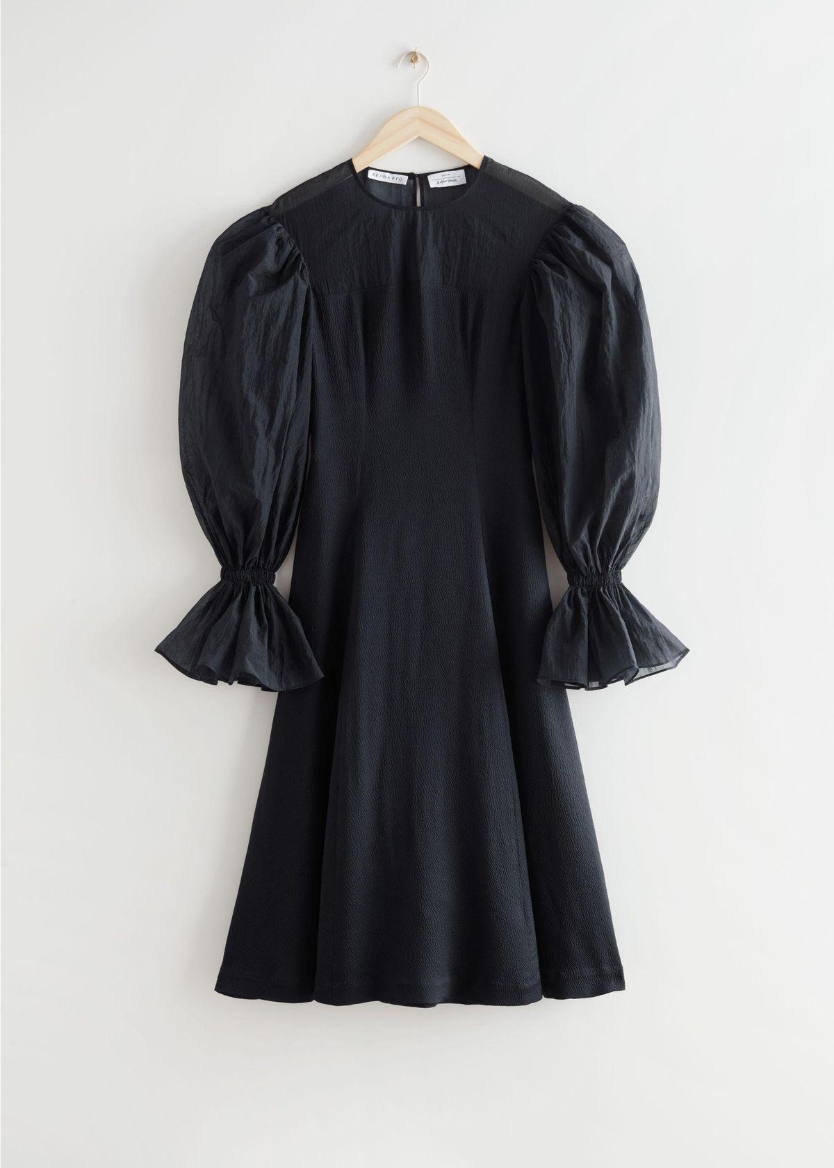 x Rejina Pyo Organza Sleeve Silk Midi Dress