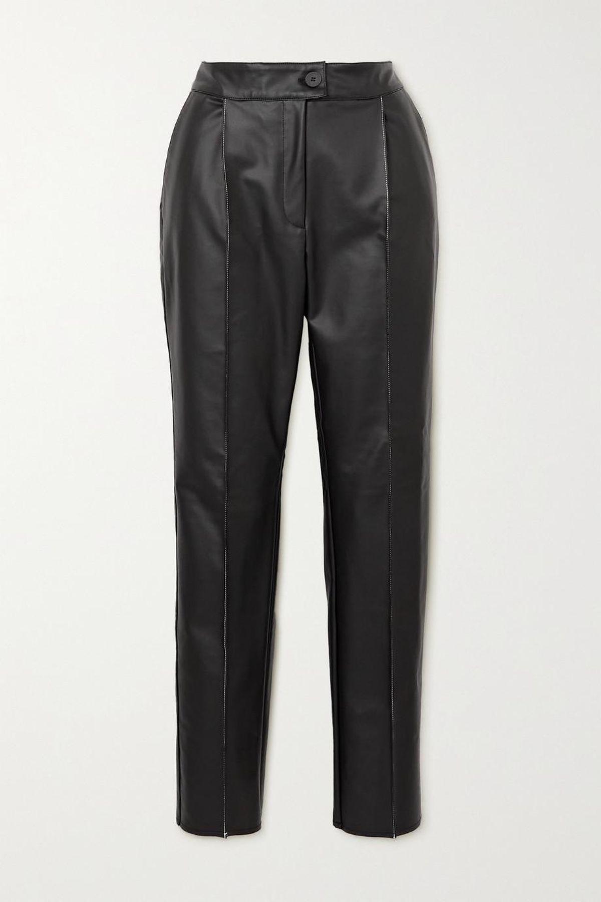 Faux Leather Straight Leg Pants