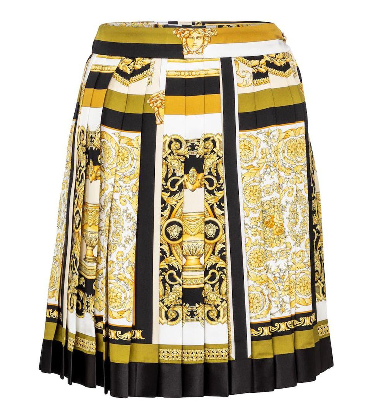 Barocco Mosaic Pleated Silk Miniskirt
