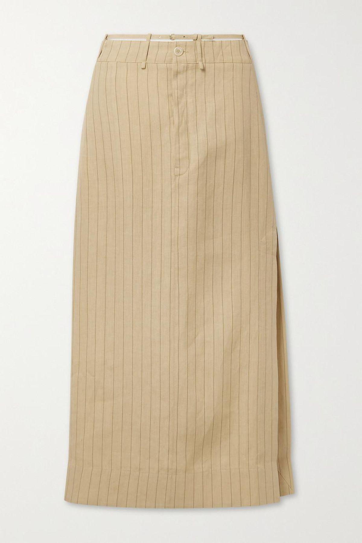 Terraio Cutout Pinstriped Linen Maxi Skirt
