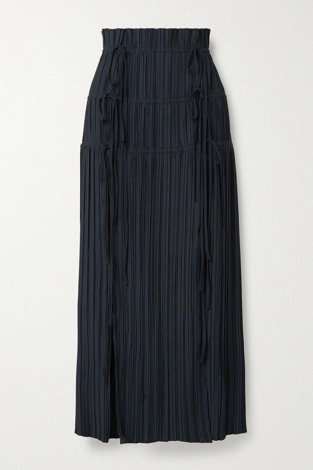 Tie-Detailed Plisse Crepe Maxi Skirt