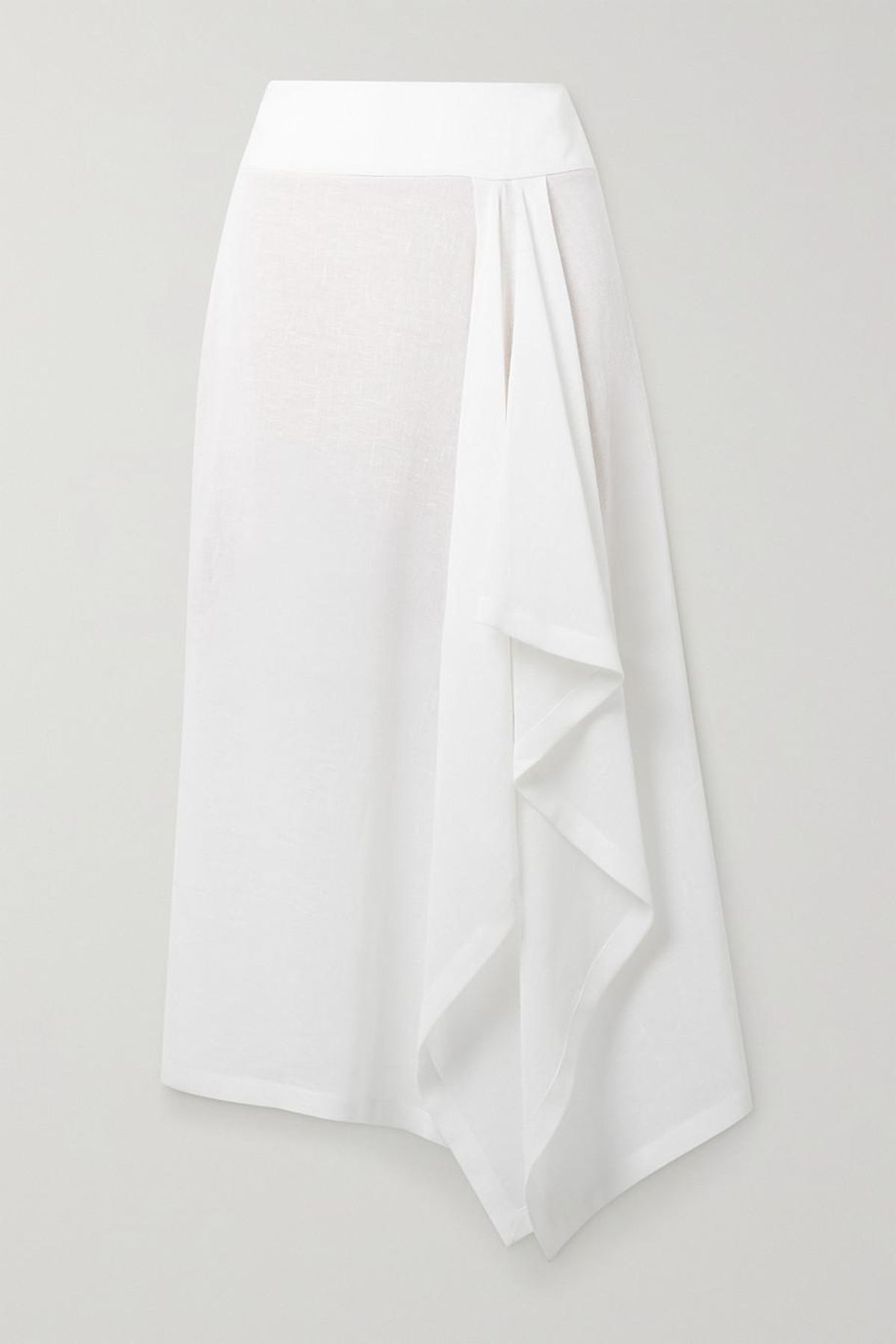 Collection Asymmetric Draped Linen Gauze Midi Skirt
