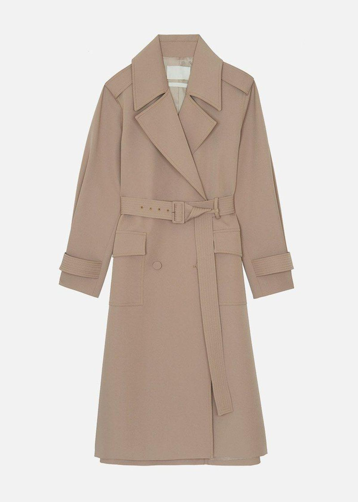 Gabardine Double-Breasted Suit Trench in Safari