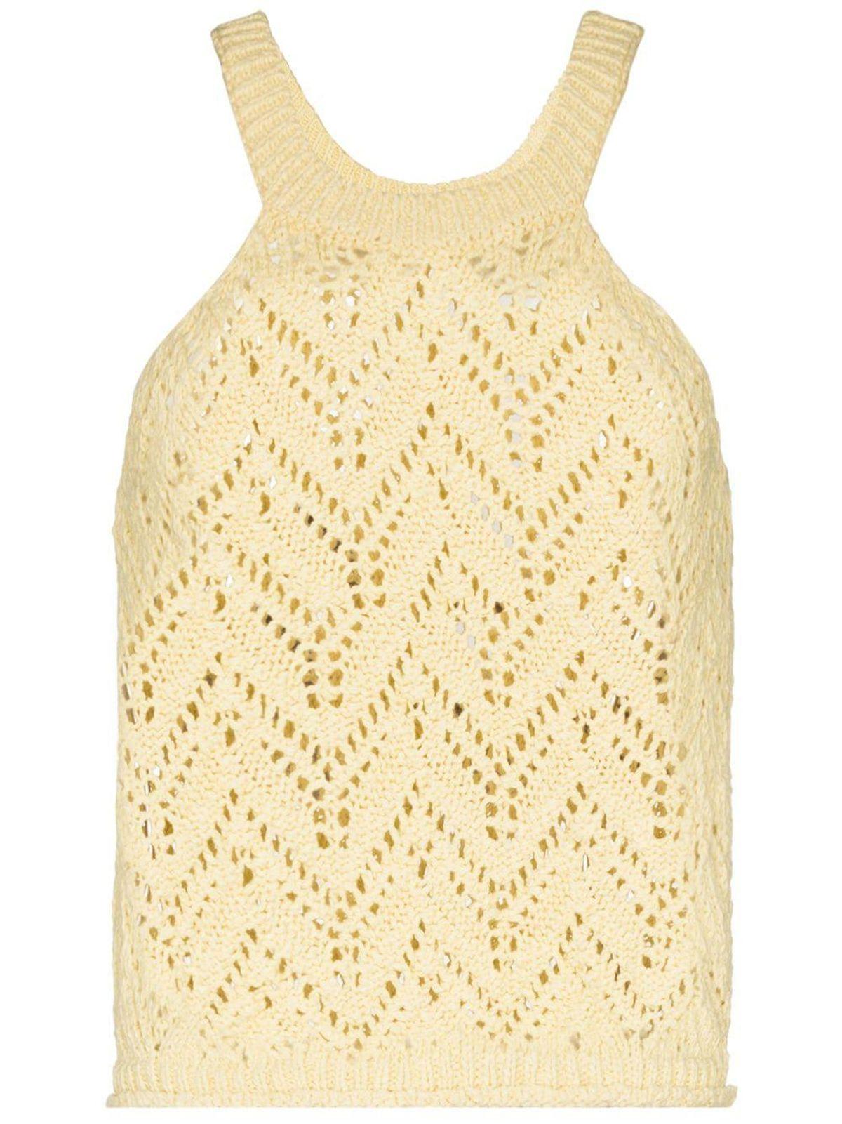 Crochet-Knit Semi Sheer Top
