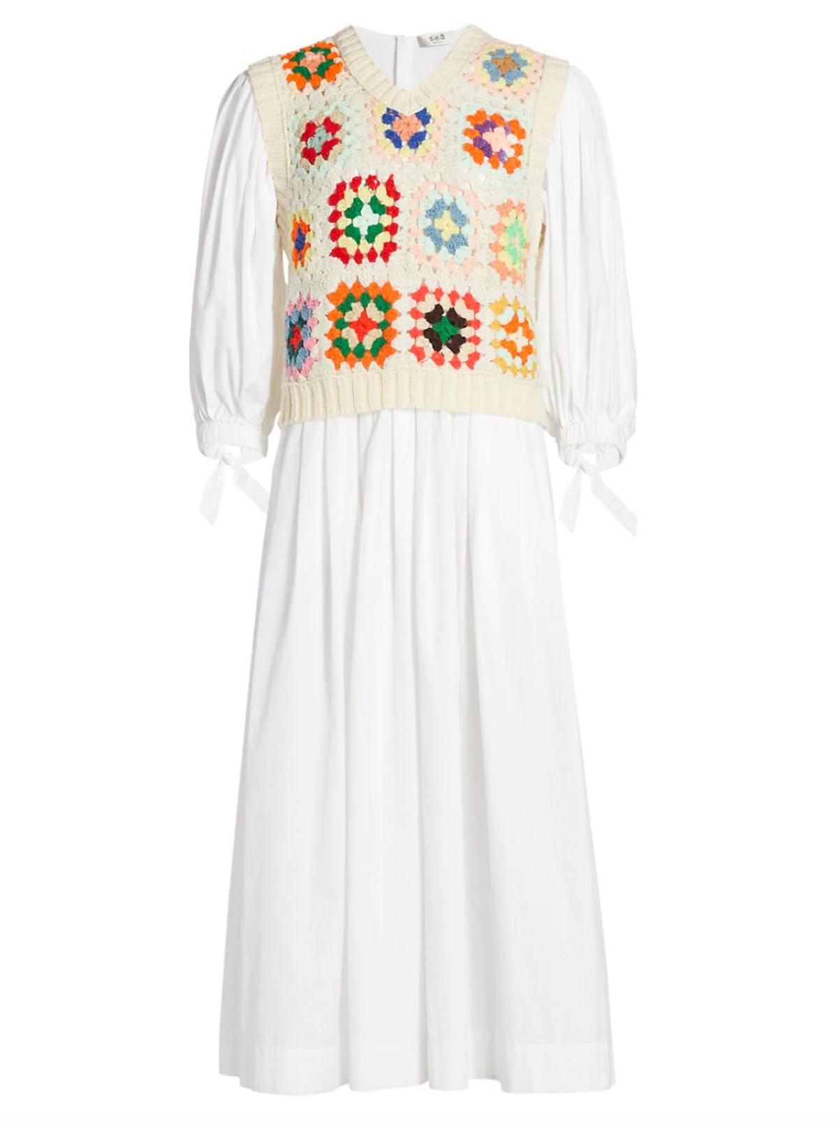 Crochet Combo Puff Sleeve Midi Dress