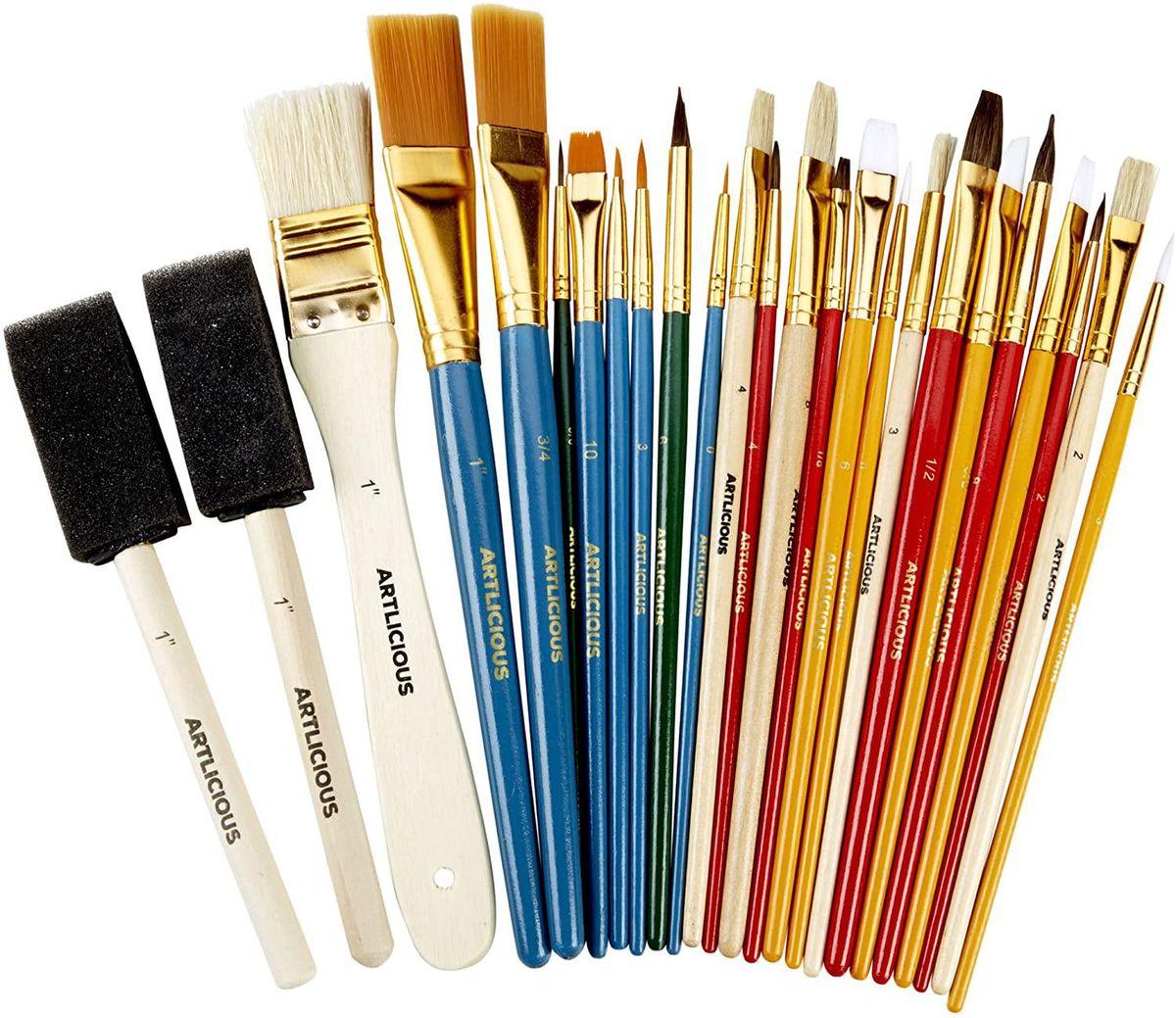 25 All Purpose Oil Paint Brush Value Pack