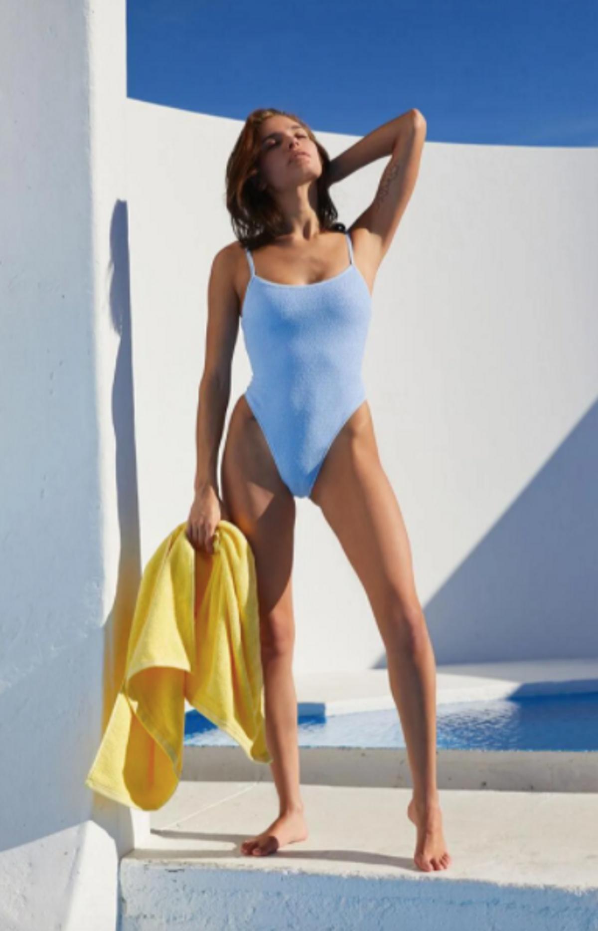 Light Blue Cora Scrunch One Piece Swimsuit