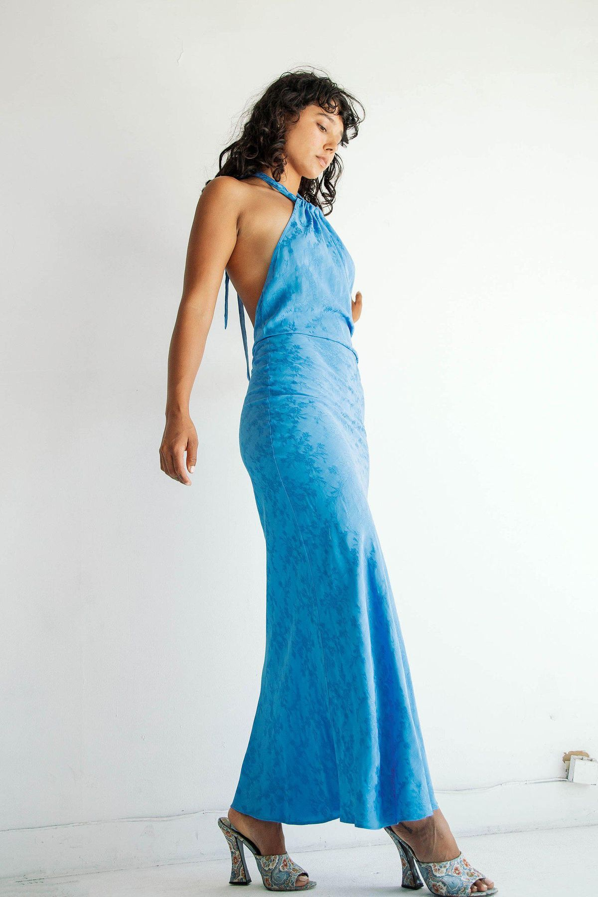 the line by k belle dress cerulean blue
