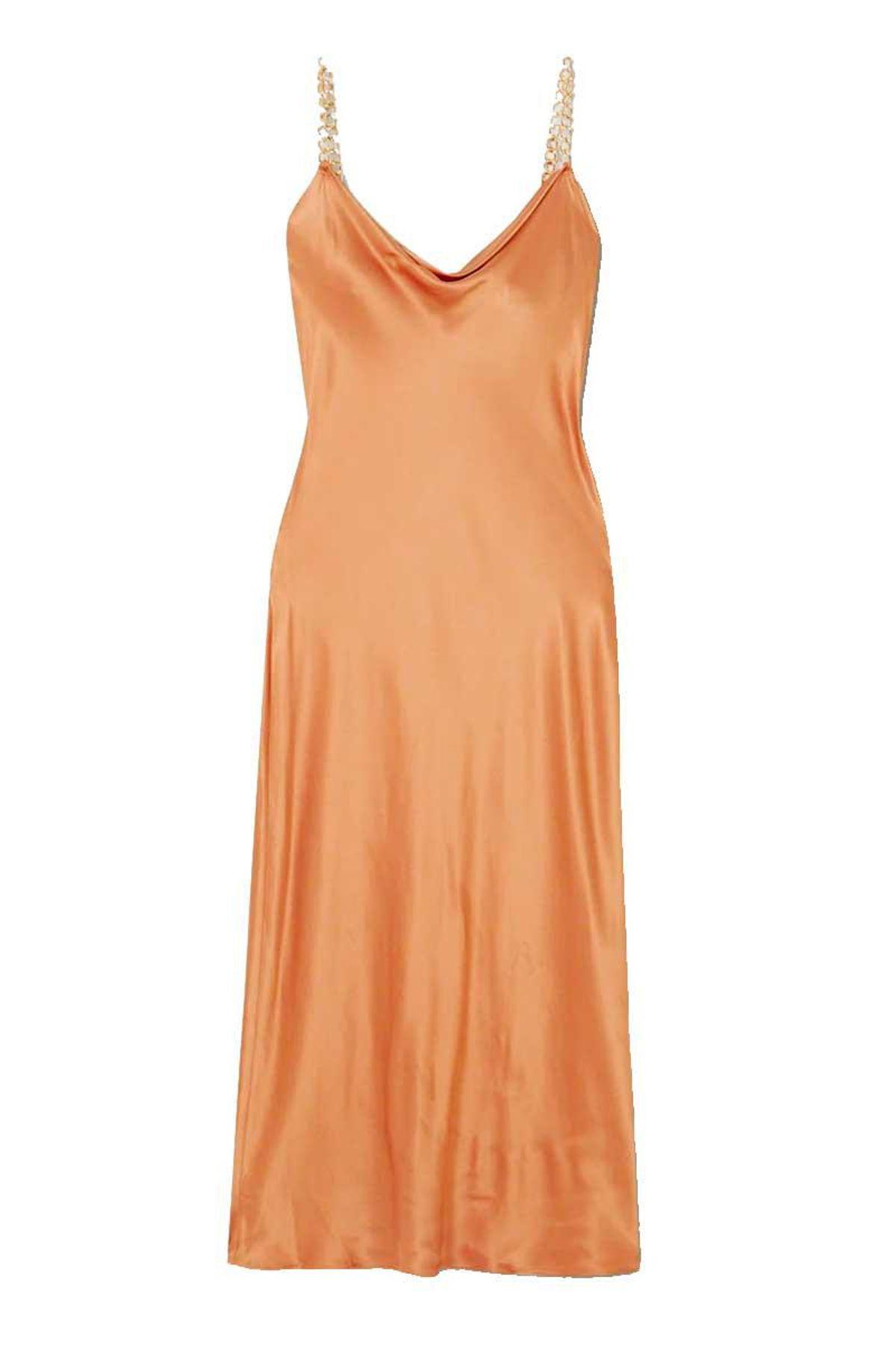 olivia von halle bibi chain embellished silk satin midi dress