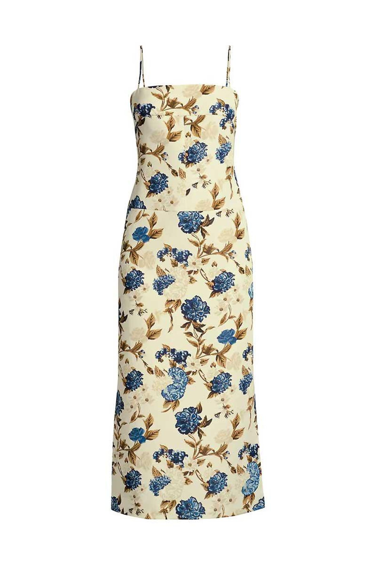 tory burch mixed floral strappy back midi dress