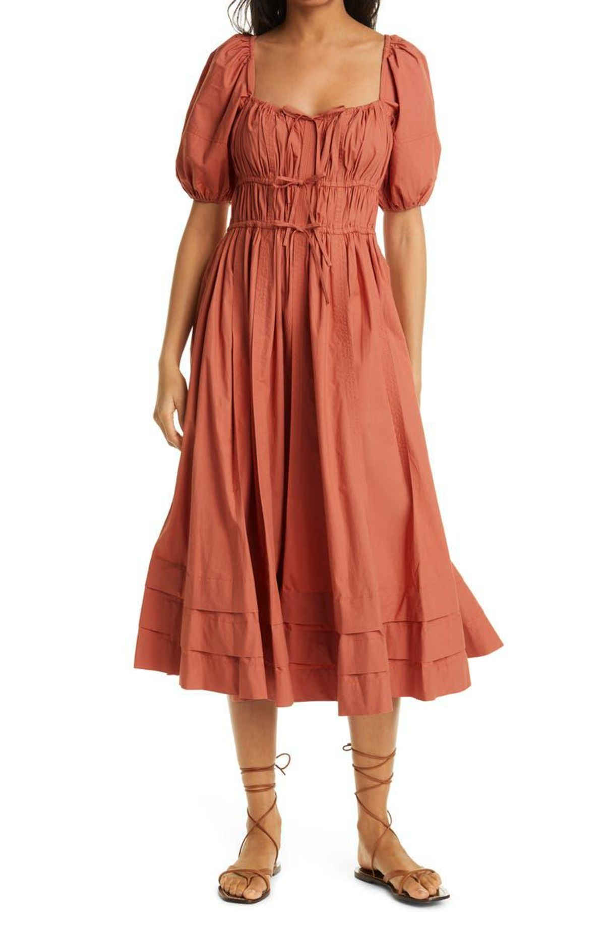 ulla johnson palma puff sleeve cotton a line dress