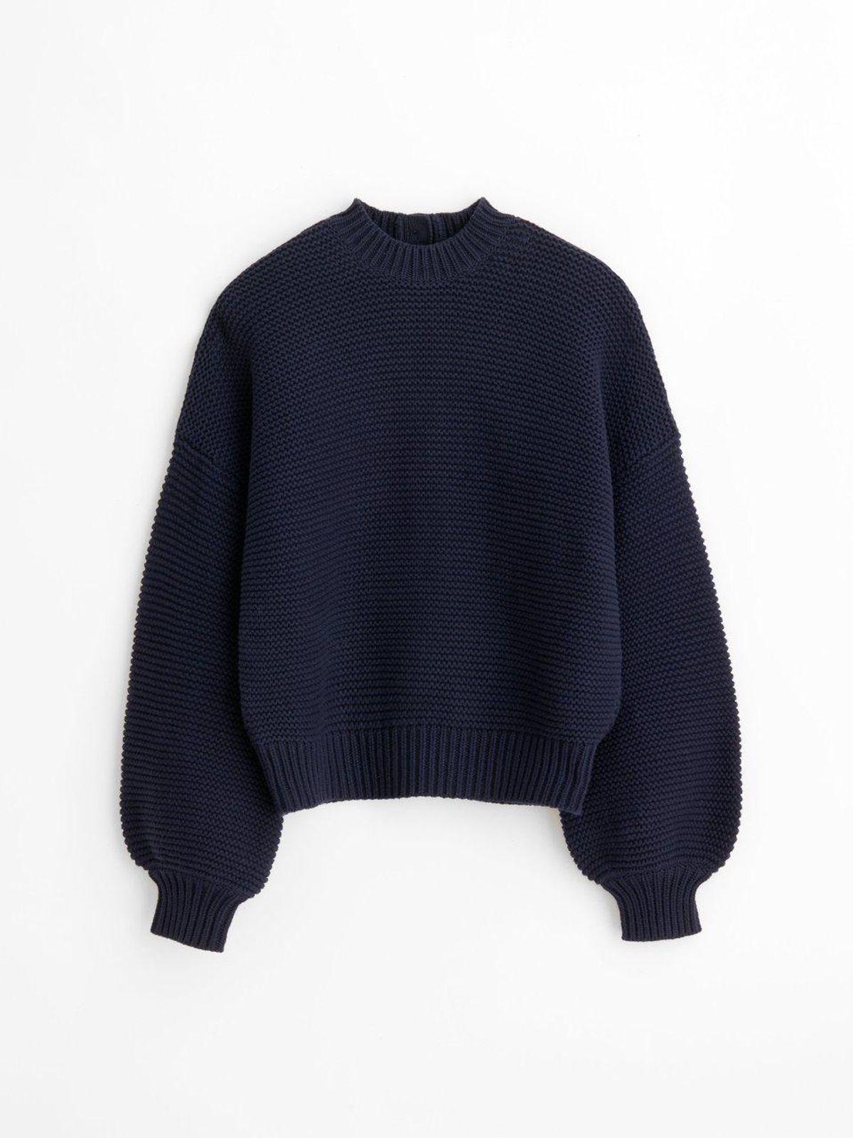 Button Back Crewneck Sweater