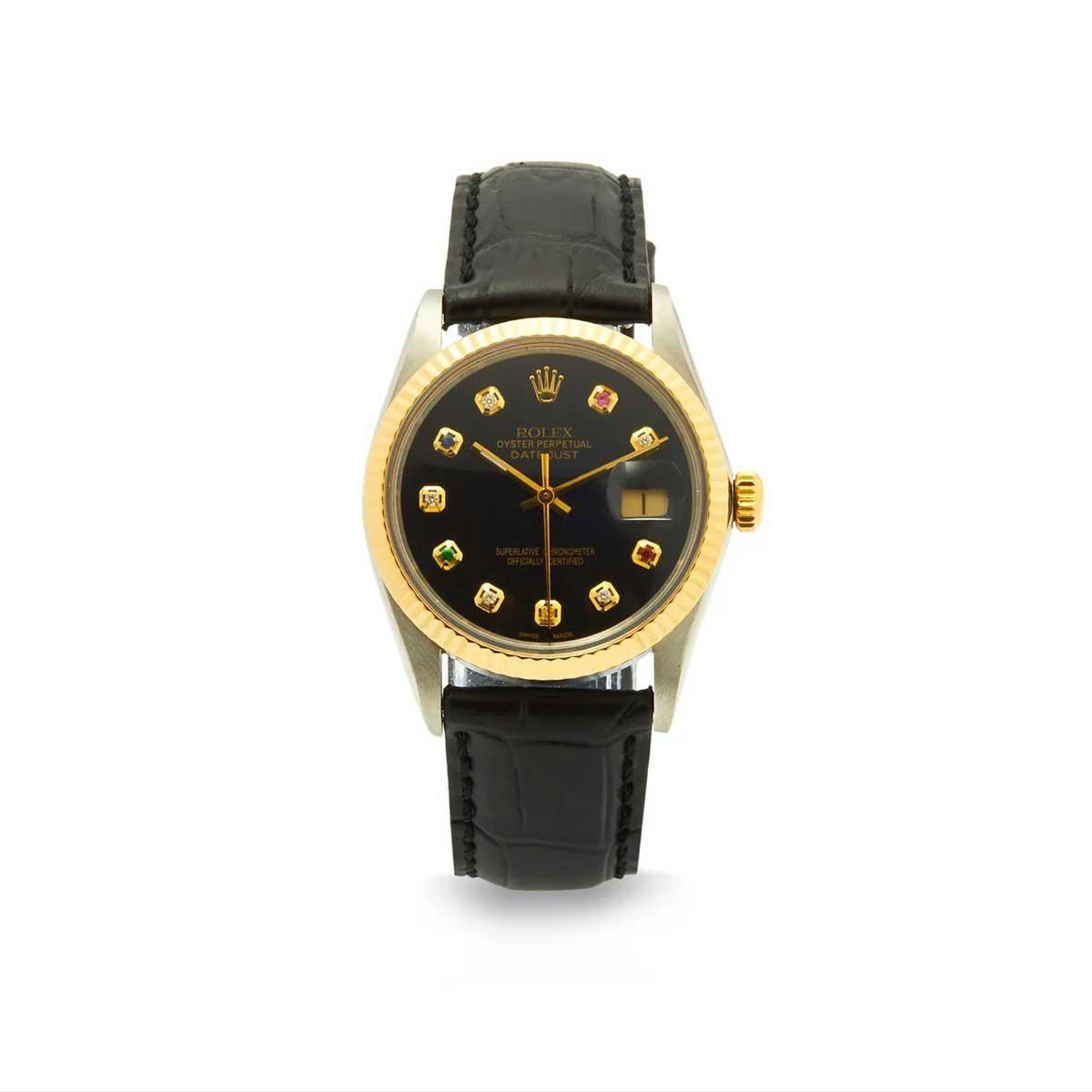 vintage rolex datejust diamond & 18kt gold watch