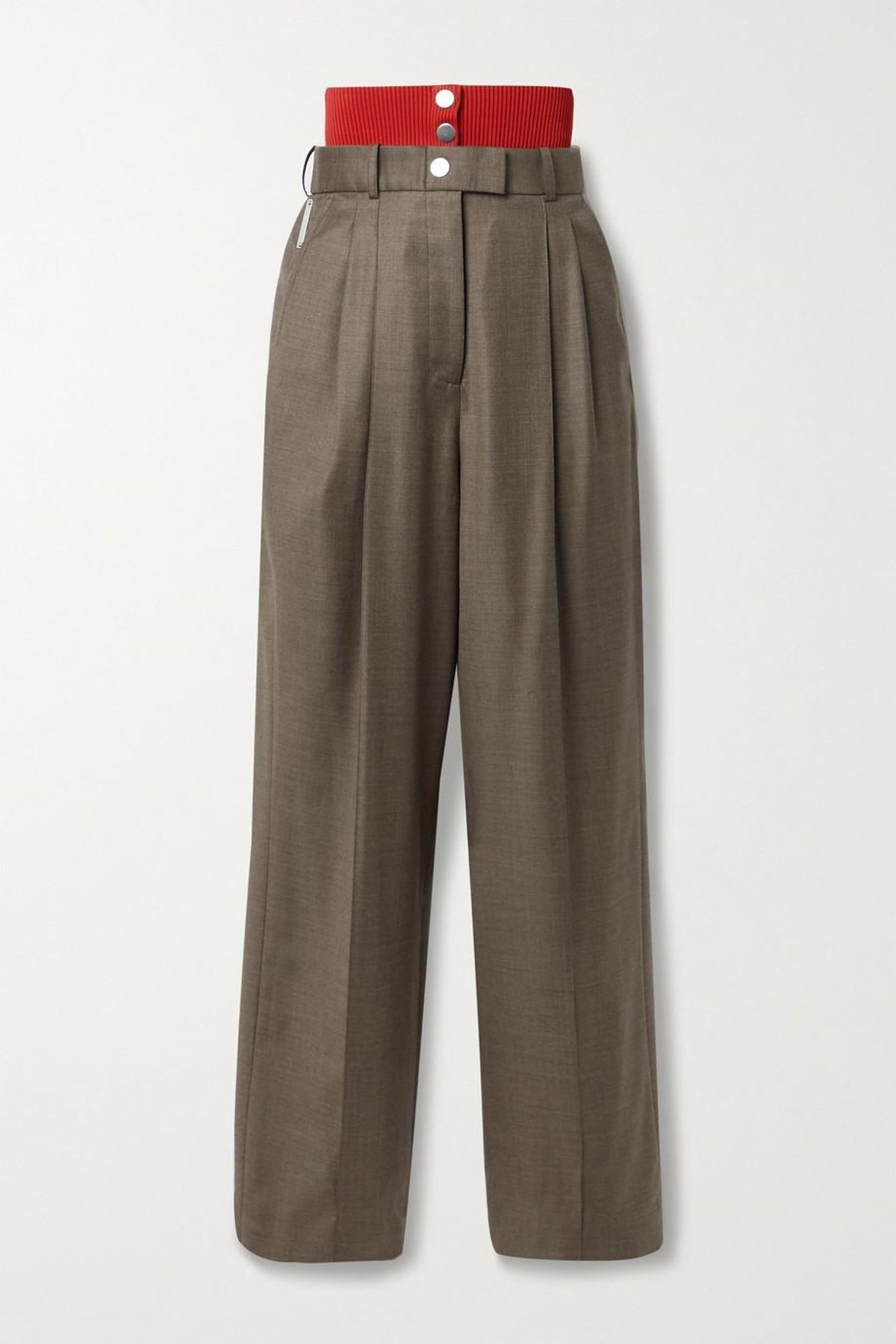 peter do ribbed knit trimmed wool straight leg pants