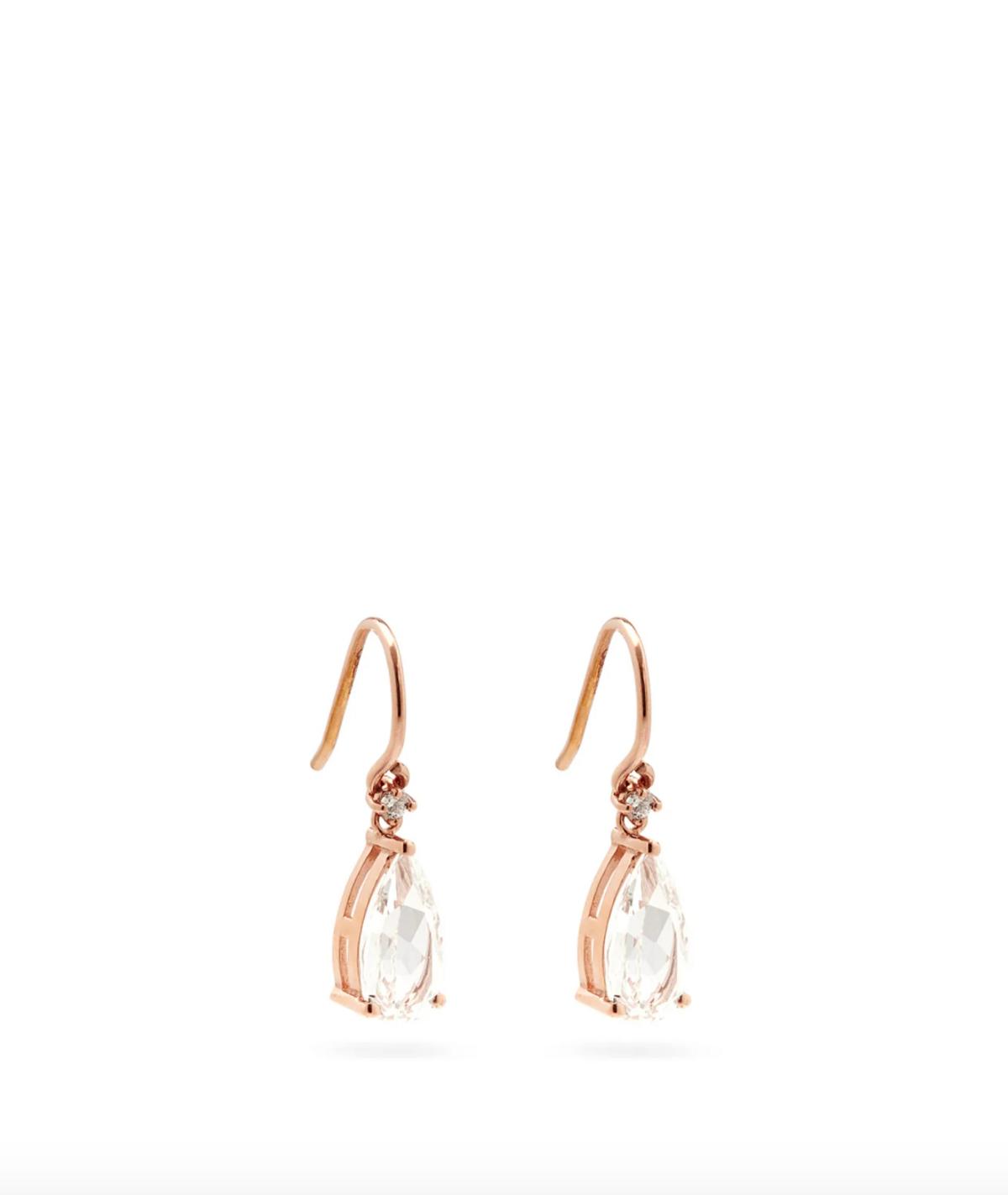 Diamond, Topaz, & 14kt Rose-Gold Drop Earrings