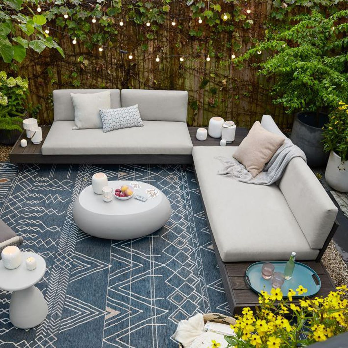 west elm portside outdoor low 3 piece l shaped sectional w corner coffee table