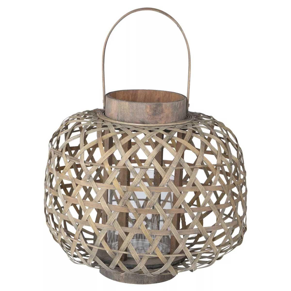 a and b home coconio wood lattice lantern round