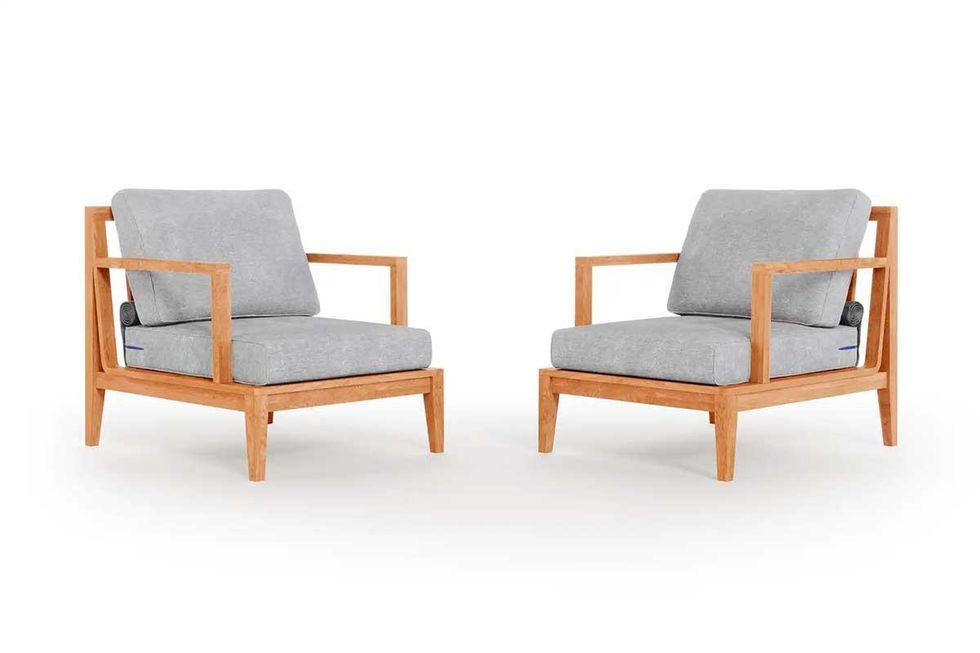 outer teak outdoor armchair conversation set