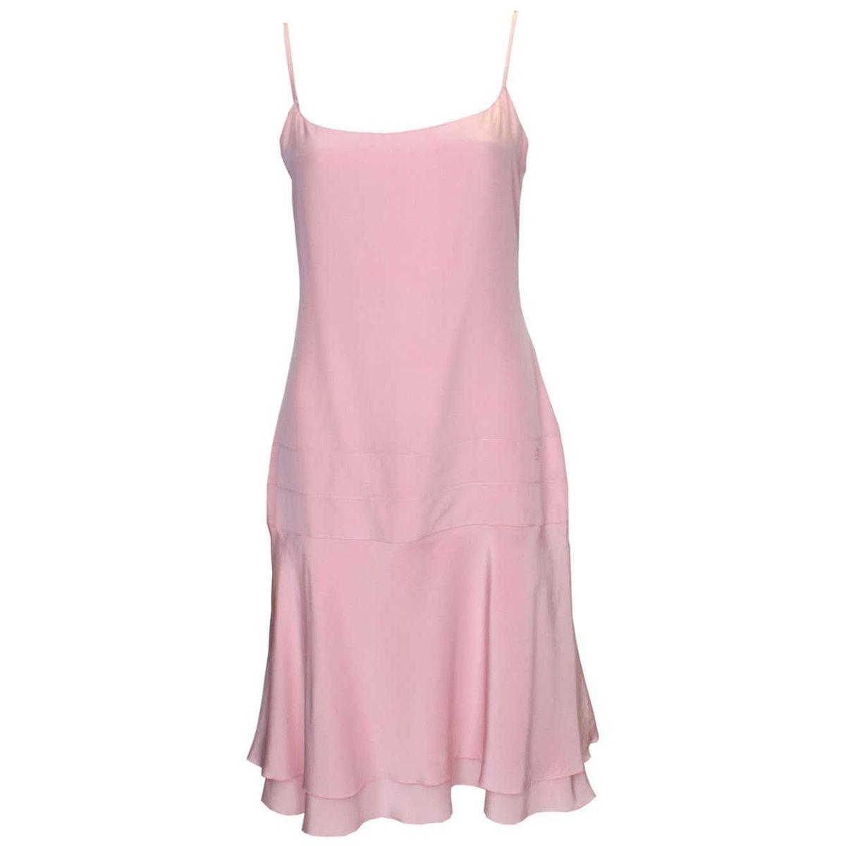 chanel vintage pink silk slip dress