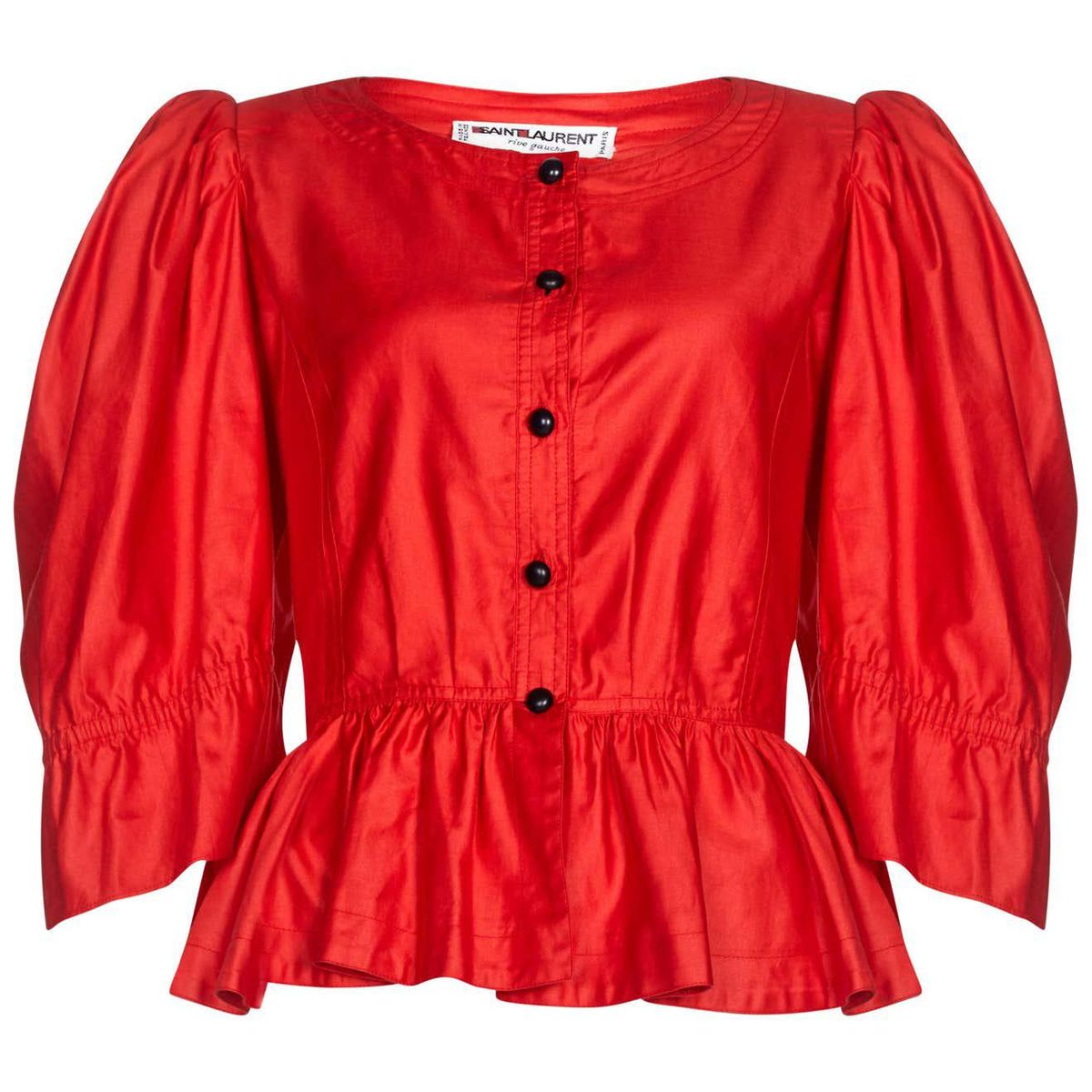 yves saint laurent 1970s red cotton bell sleeve blouse