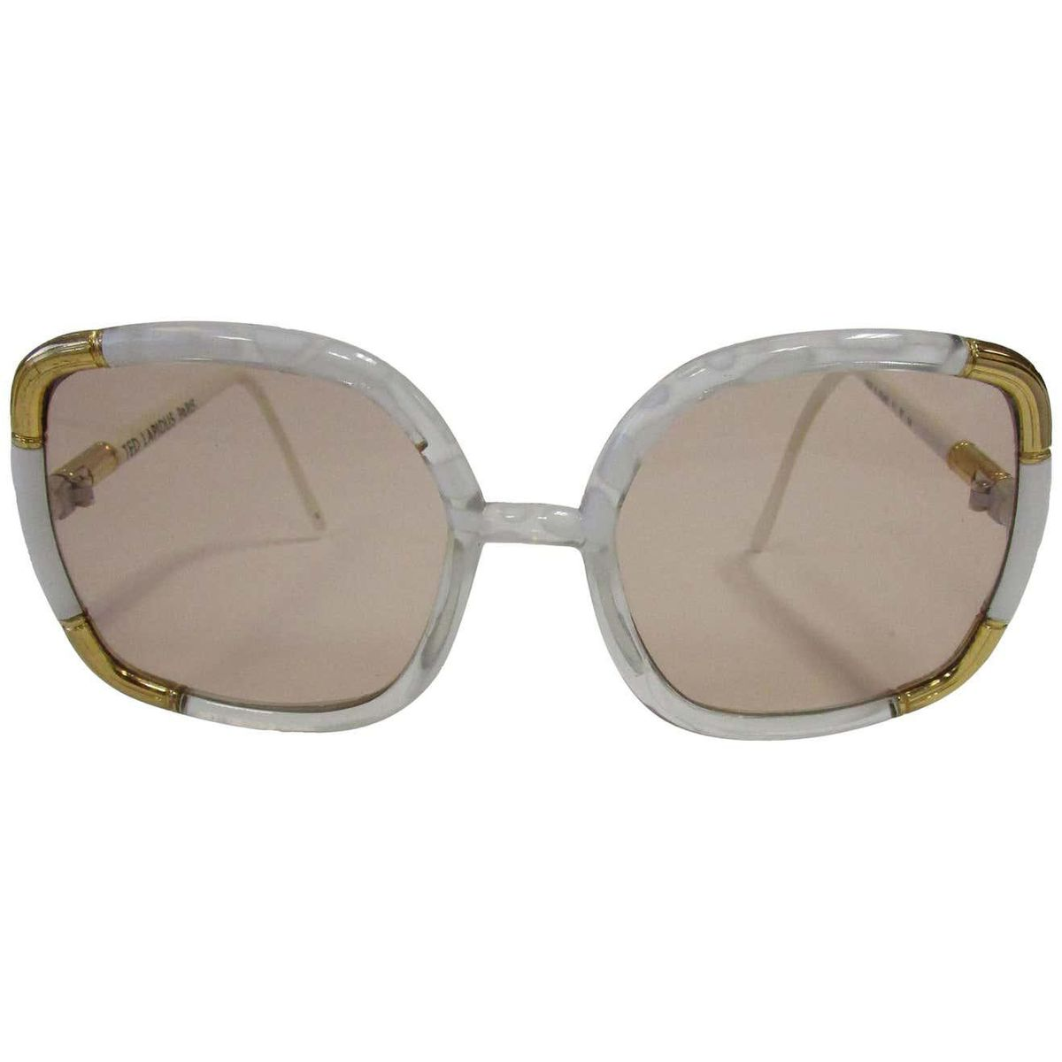 ted lapidus 1970s classic paris sunglasses white marbled and gold hardware