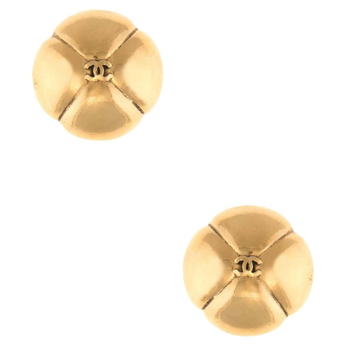 chanel vintage cc logo clip earrings yellow gold tone domed quilt