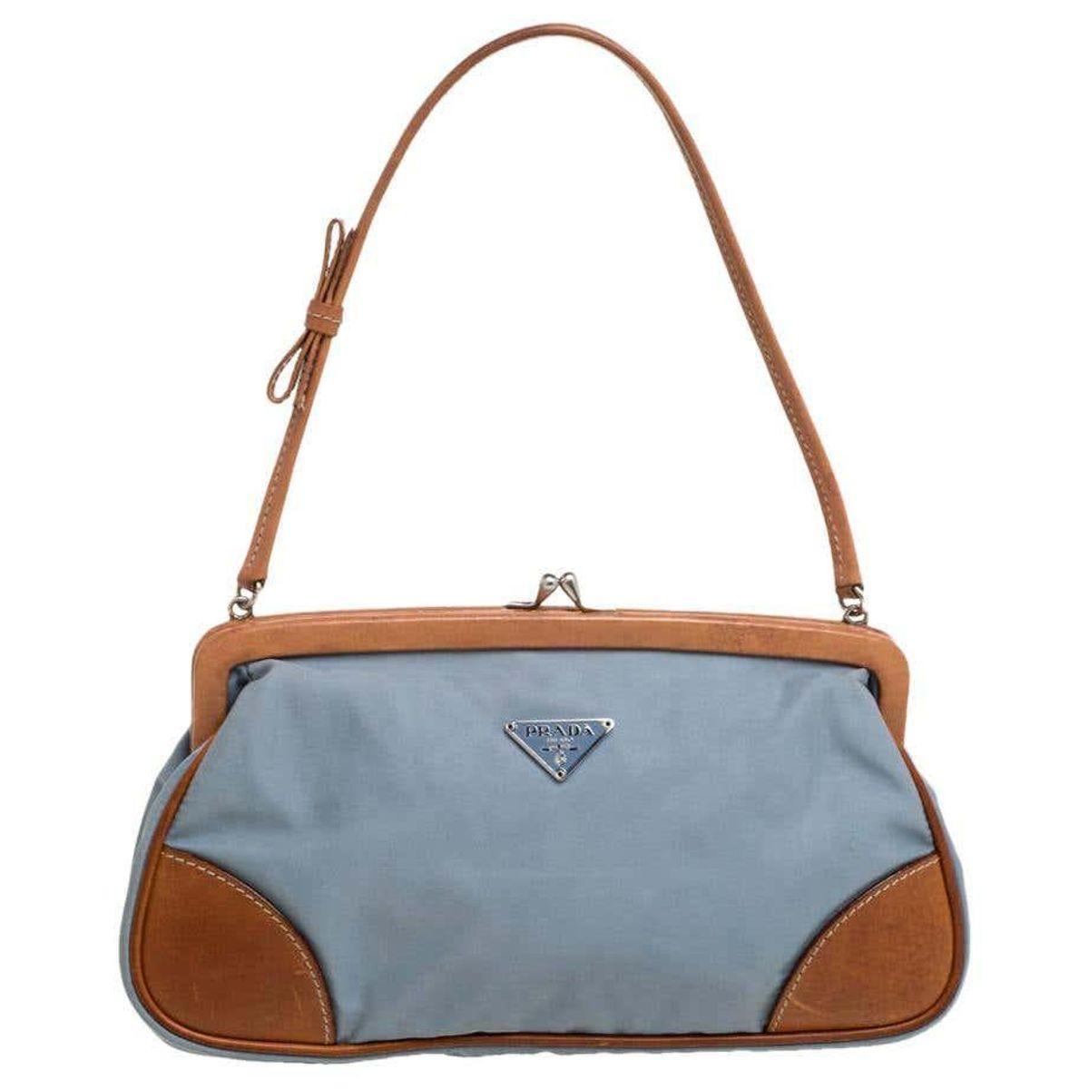 prada blue brown nylon and leather frame pochette bag