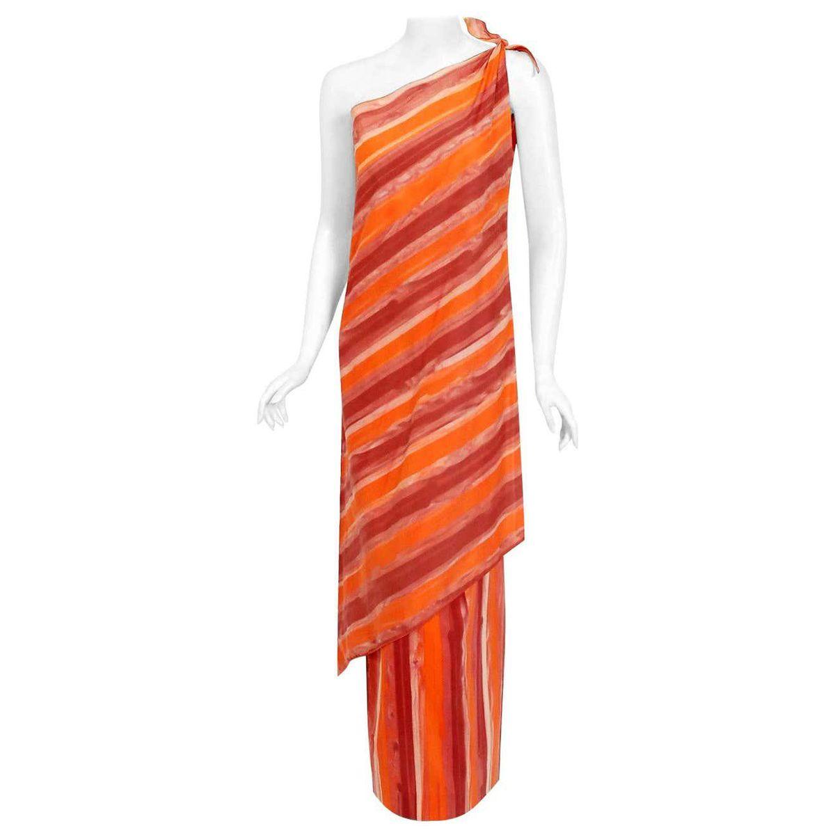 paco rabanne vintage 1970s striped cotton one shoulder asymmetric dress set
