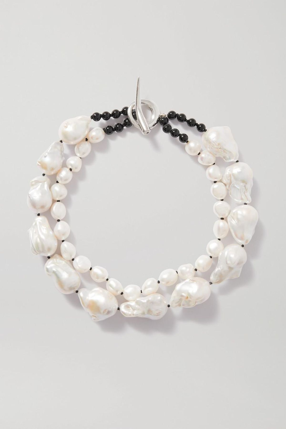 Silver Pearl and Onyx Necklace