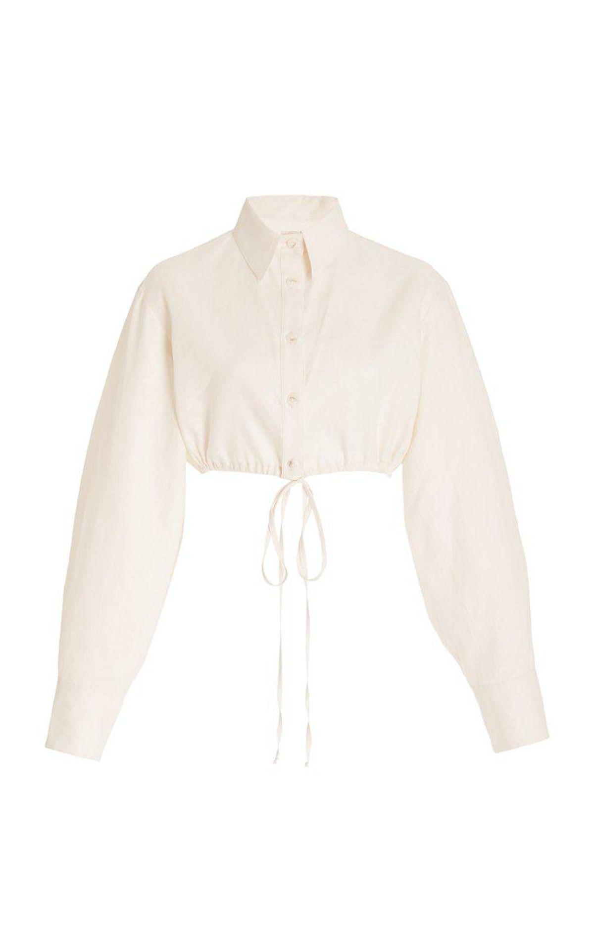 matthew burch exclusive cropped linen shirt