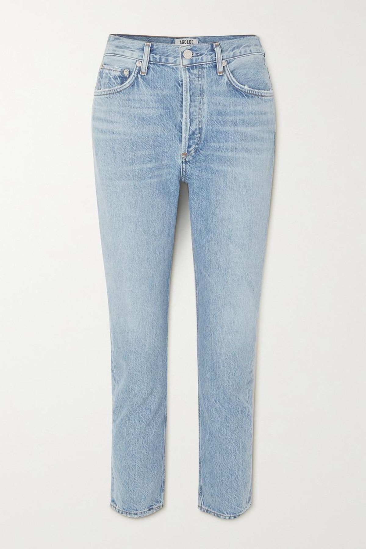 Riley Cropped Organic High Rise Straight Leg Jeans